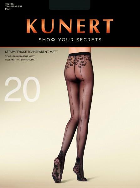 Elegante panty met achternaad en bloemenmotief Secret Trace van Kunert