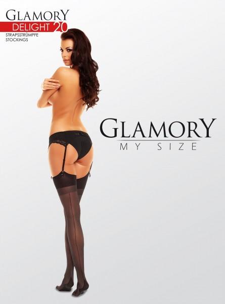 Grote maten jarretelkousen met achternaad Delight 20 van Glamory