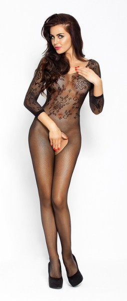 Zwarte netstof catsuit met open kruis