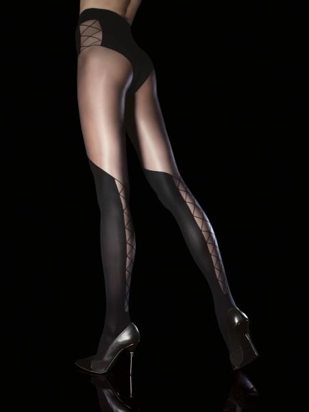 Over de knie panty met verleidelijk patroon Darya van Fiore