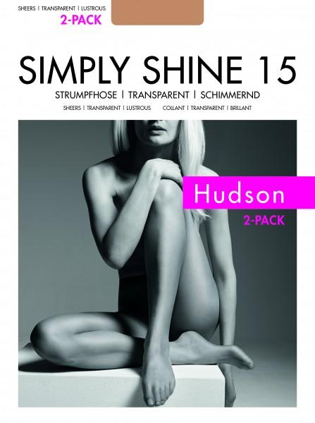 Gladde glanzende panty Simply Shine 15 van Hudson - 2-pack