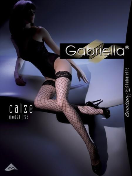 Klassieke gladde stay ups met grove netstructuur Kabarette 153 van Gabriella