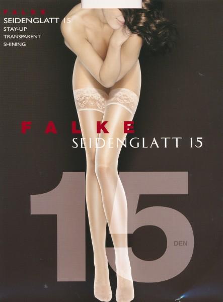 Falke Seidenglatt 15 - Fijne stay ups met satijnglans en kanten boord