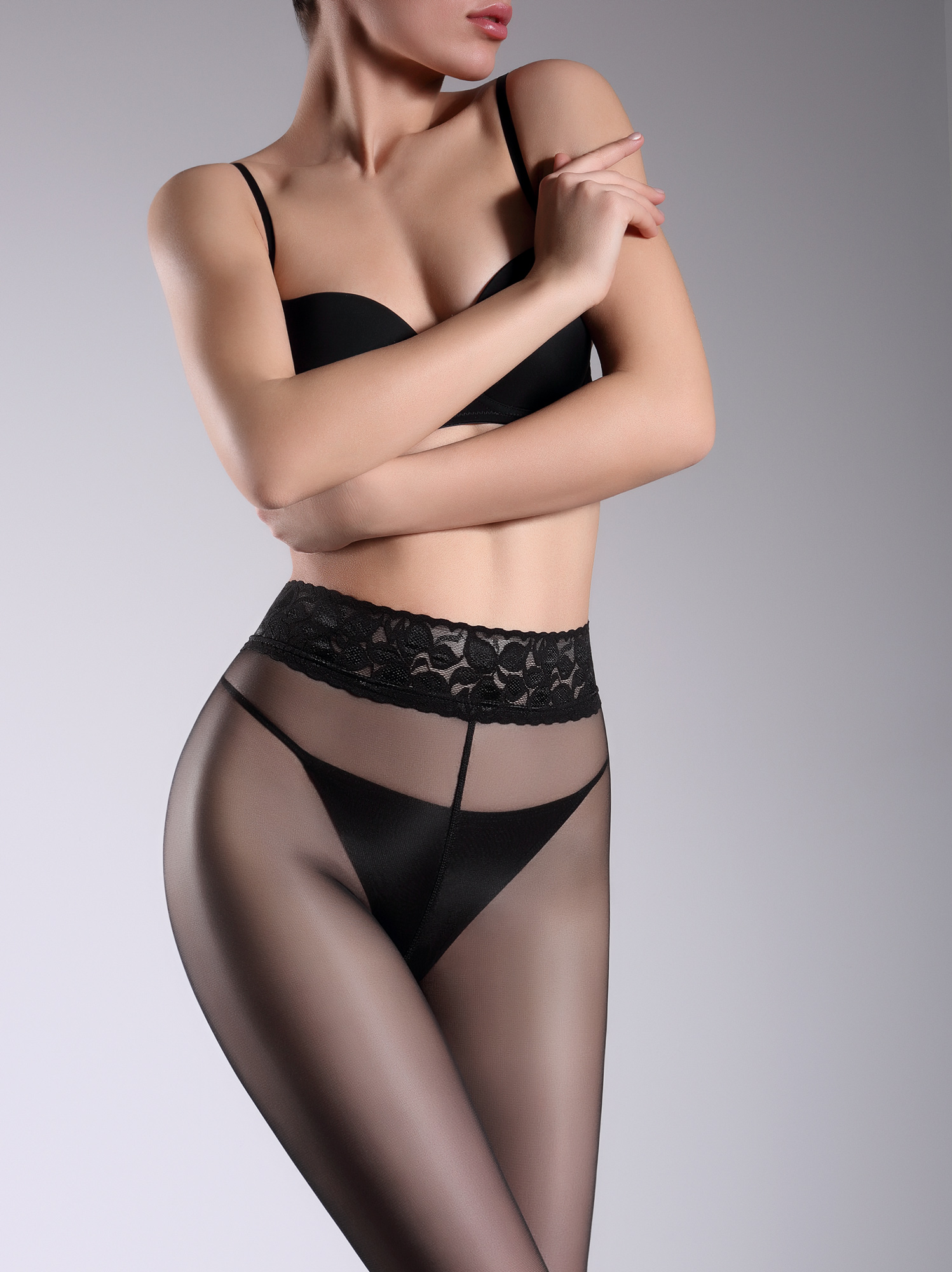 c849de3000b ... Voorvertoning: Giulia Impresso 20 - Gladde transparante panty met  kanten boord