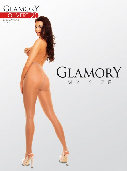 Glanzende grote maten panty met open kruis Ouvert 20 van Glamory