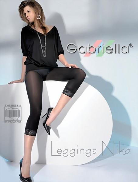 Gladde ondoorzichtige leggings versierd met kanten randje Nika van Gabriella