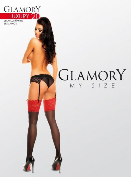 Glanzende grote maten jarretelkousen met brede kanten boord Luxury 20 van Glamory