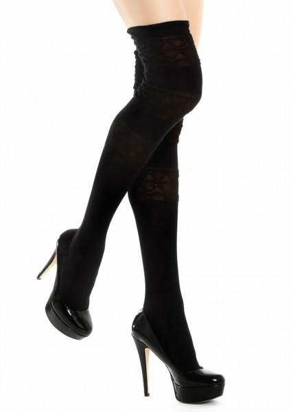 Katoenen over de knie sokken Zazu van Marilyn, zwart