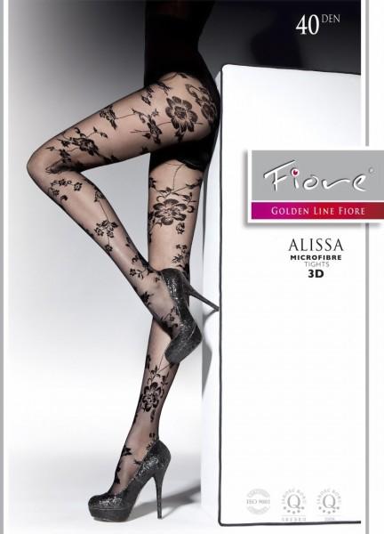 Elegante pantys met bloemenpatroon Alissa van Fiore, 40 DEN