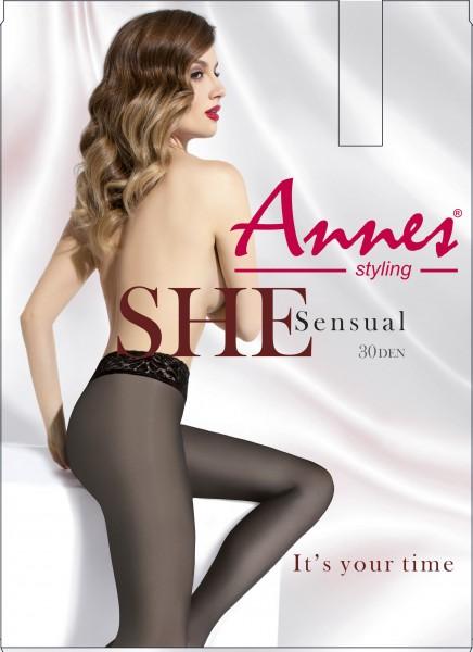 Panty met kanten boord Sensual 30 van Annes