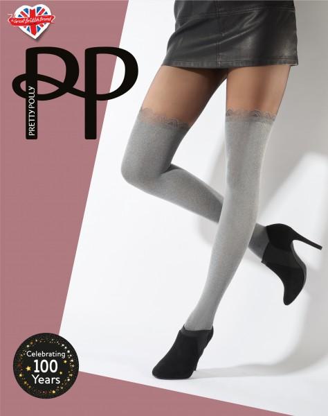 2 in 1 - Panty met zachte over de knie sokken Soft Grey van Pretty Polly