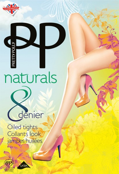 Gladde transparante zomerpanty Naturals 8 DEN Oiled van Pretty Polly