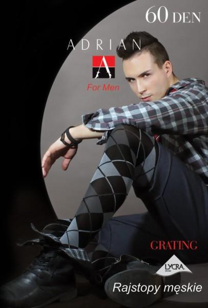Ondoorzichtige mannenpanty met patroon Grating van Adrian, 60 DEN
