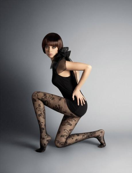 Elegante panty met bloemenpatroon Bernadette 20 DEN van Veneziana