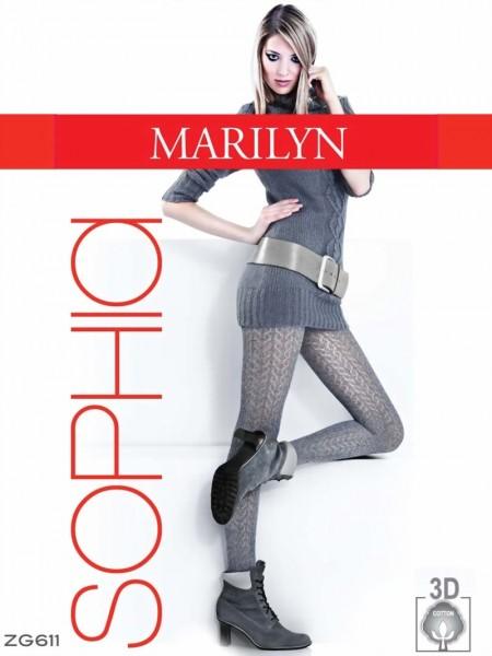 Pantys met patroon en katoen Sophia 120 DEN van Marilyn