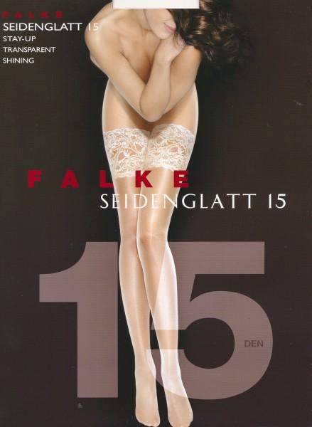 Falke Seidenglatt 15 - Fijne stay ups met satijnglans en brede kanten boord