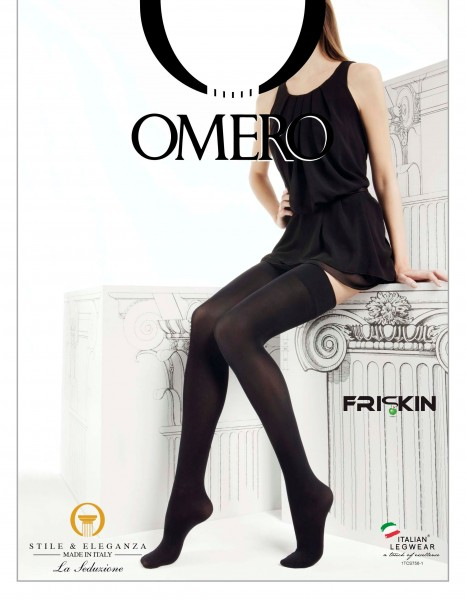 Gladde opaque zelfophoudende kousen met effen boord Libera 50 van Omero