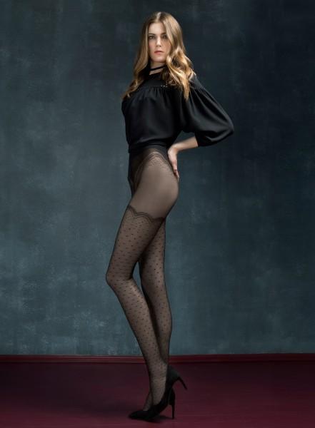 Panty met kousen-look en stippen Mystery van Fiore, 30 DEN