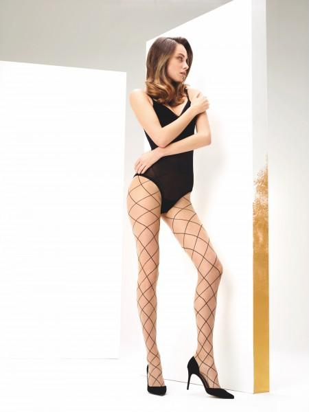 Transparante panty met ruitmotief in netoptiek Angie van Omero