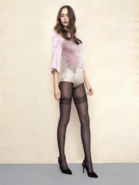 Panty met kousen-look, stippen en bloemenpatroon Sugar Rush van Fiore, 30 DEN