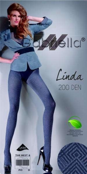 Ondoorzichtige winterpantys met patroon Linda 200 DEN van Gabriella