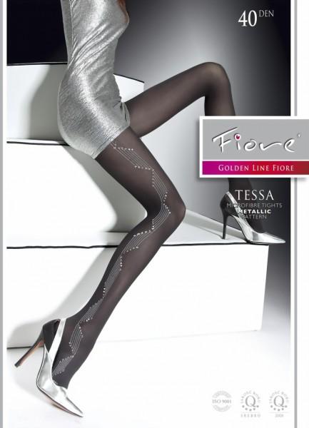 Elegante pantys met glanzend patroon Tessa van Fiore, 40 DEN
