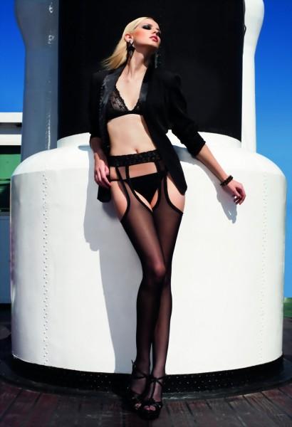 Exclusieve strip panty met achternaad en kanten tailleband Tulle van Trasparenze