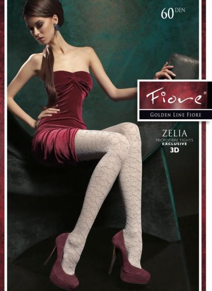 Elegante ondoorzichtige pantys met patroon Zelia van Fiore, 60 DEN
