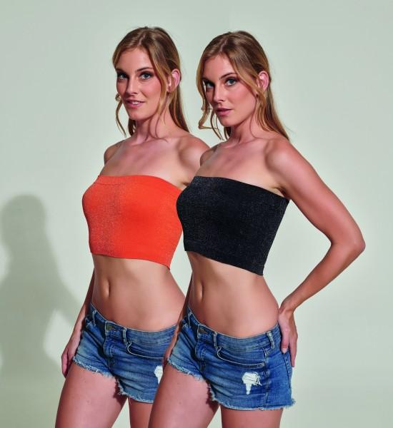 Naadloze top in trendy kleuren met Lurex-effect Cumino van Trasparenze