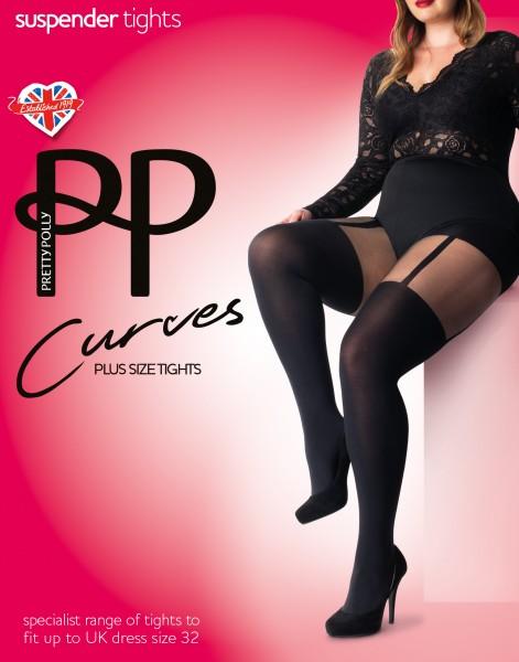 Trendy grote maten panty met kousenmotief Curves Suspender van Pretty Polly