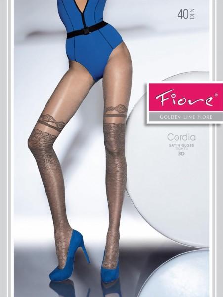 Decent glanzende pantys met over de knie patroon Cordia van Fiore, 40 DEN