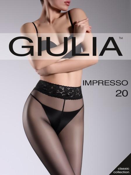 Giulia Impresso 20 - Gladde transparante panty met kanten boord