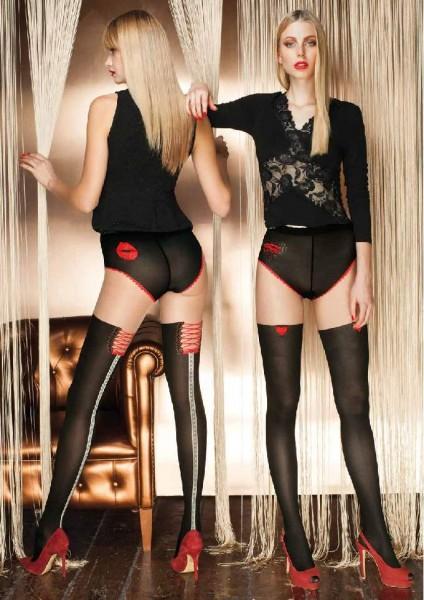 Panty met kousenmotief en verleidelijk patroon Pirite van Trasparenze