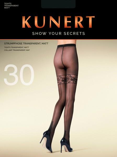 Trendy panty met kousenmotief en achternaad Radiance Net van KUNERT