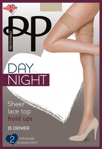 2 paar gladde klassieke stay ups met kanten boord Day to Night 15 DEN van Pretty Polly