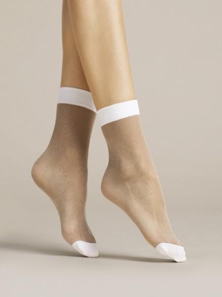 Fijne sokjes met Lurex-effect Bianco van Fiore, 20 DEN