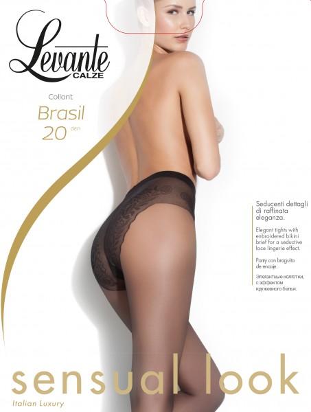 Elegante gladde panty met decoratief broekdeel Brasil van Levante, 20 DEN