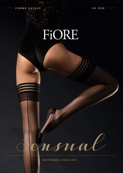 Elegante stay ups met achternaad en effen boord Femme Fatale van Fiore