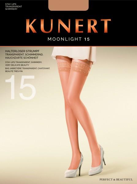 Elegante schitterende stay-ups met een sierband Moonlight 15 van Kunert