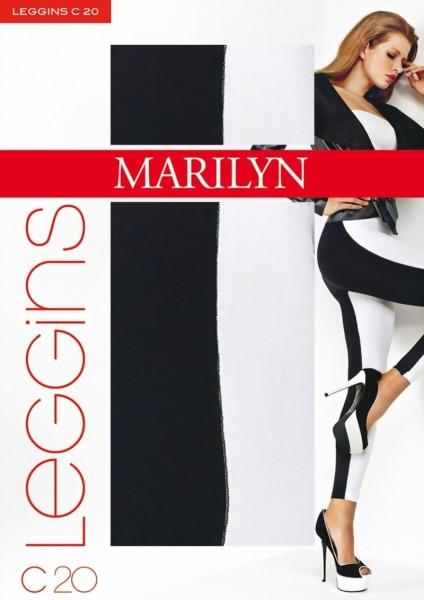 Trendy ondoorzichtige zwart-witte Legging met katoen van Marilyn