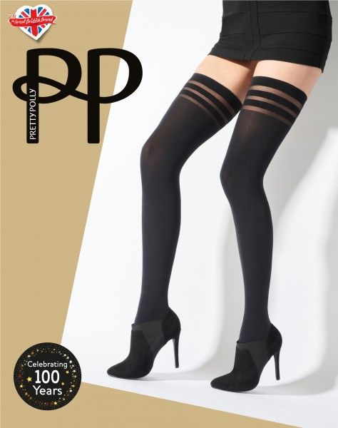 Gladde opaque stay ups Banded Top Hold Ups van Pretty Polly