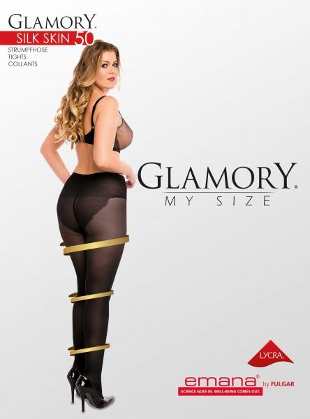 Semi-opaque grote maten panty met figuurcorrigerend broekje Silk Skin 50 van Glamory