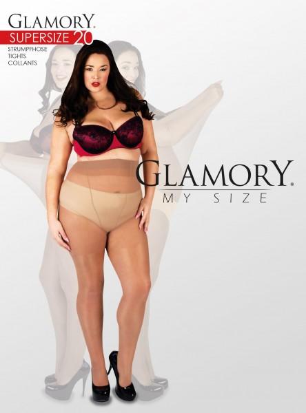 Glanzende grote maten panty Supersize 20 van Glamory