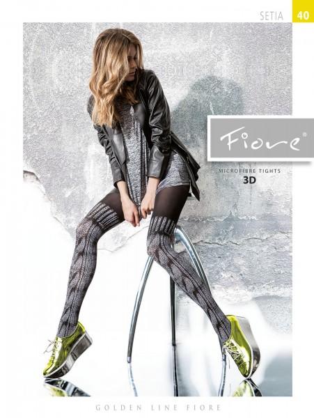 Trendy panty met over de knie patroon Setia van Fiore, 40 DEN