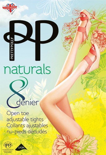 Gladde teenloze zomerpanty met siliconen band Naturals 8 DEN van Pretty Polly