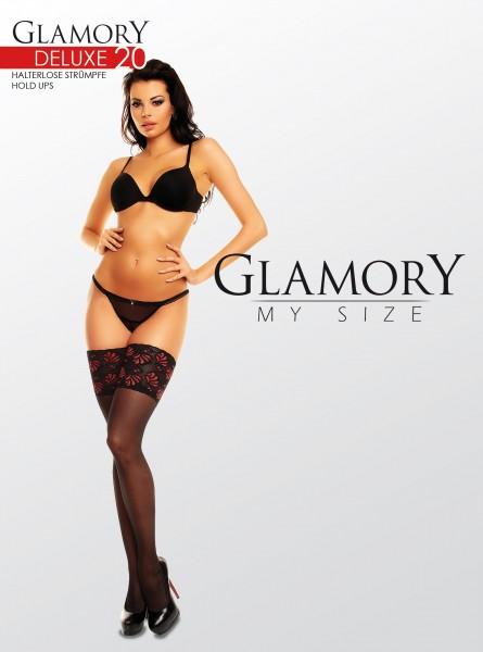 Grote maten stay ups Deluxe 20 van Glamory