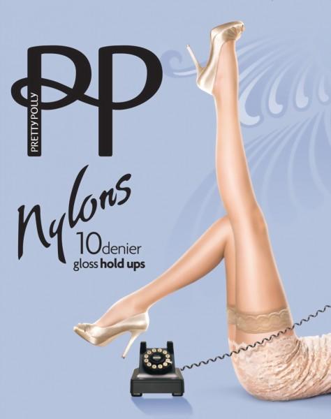 Gladde glanzende stay ups Nylons Gloss 10 DEN van Pretty Polly