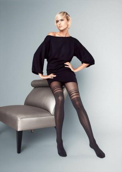 Elegante panty met over de knie patroon Bruna 40 DEN van Veneziana