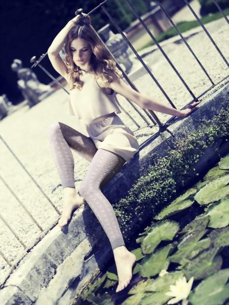 Exclusieve katoenen kant leggings met patroon Milly van Omero