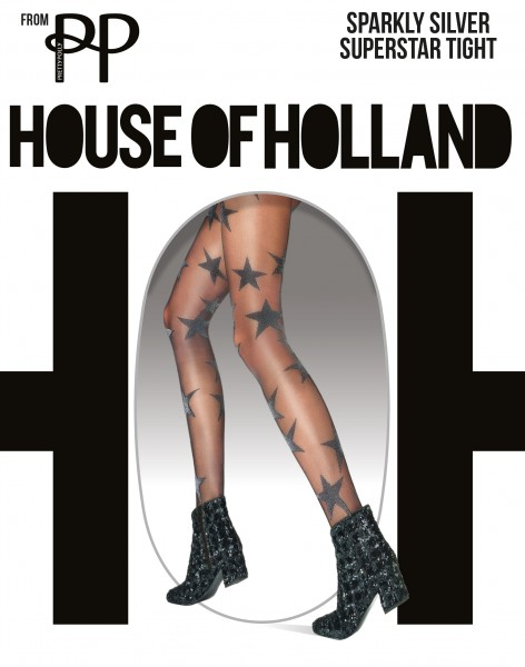 Panty met schitterende sterpatroon Sparkly Silver Superstar van House of Holland for Pretty Polly